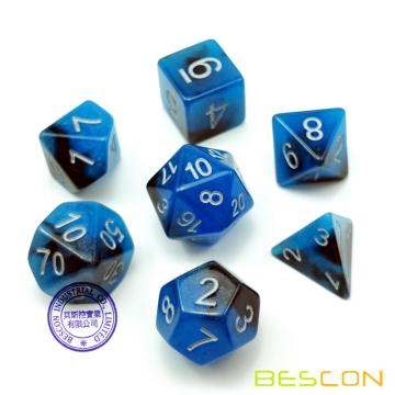 Bescon Zweifarbige Glow-in-the-Dark Vieleck Würfel Set BLUE DAWN, leuchtende RPG Würfel Set d4 d6 d8 d10 d12 d20 d% Brick Box Pack