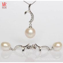 925 Silver Jewelry Sets with Freshwater Pearls and CZ (ES1321)