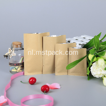 Kraft Paper 3 Side Seal Bag met klep