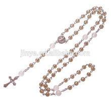 Natural Smoky Crystal Prayer Rosary Beads Cross Necklace