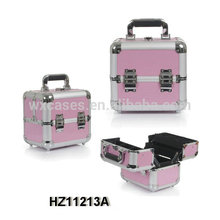 mini pink aluminum cosmetic case with 4 trays inside wholesales