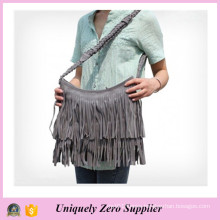 Nubuck Leather Tassels Shoulder Tote Ladies Messenger Bags (54076-2)