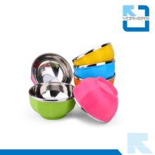 Bols coloriés en acier inoxydable et en plastique et bol de riz en acier inoxydable pour enfants