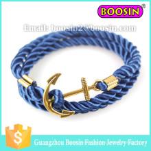 Pulsera de cuerda trenzada con ancla de oro personalizada náutica Sealife Sea para hombre