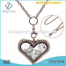 Mode de chocolat cristal flottant locket collier bijoux en gros