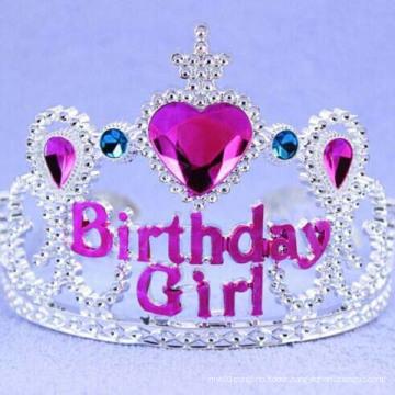 Heart Pink Rhinestone Wide Plastic Happy Birthday Tiara