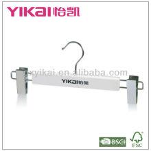 Cintre en bois blanc avec logo et clips en métal 2pcs