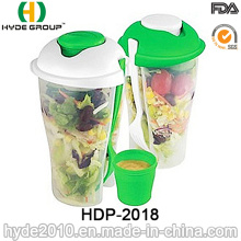 Food Container Plastic Salad Shaker Cup with Fork (HDP-2018)