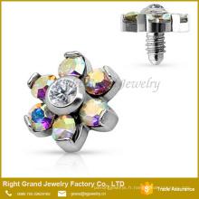 Ancre Prong Prong Set CZ fleur acier chirurgical 316L intérieurement fileté bijoux