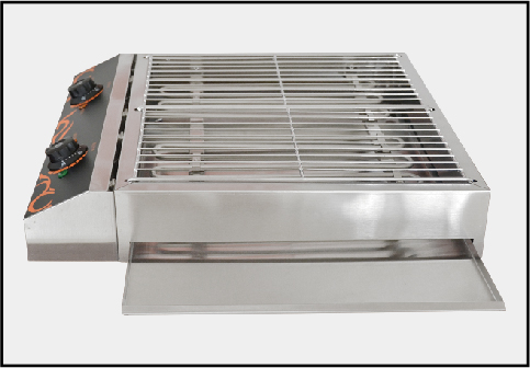 Stainless steel double grill for restaurant