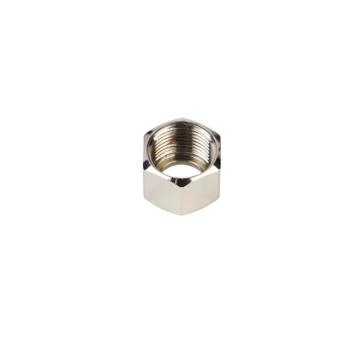 Brass hexagon nut cover for plumbing equipment