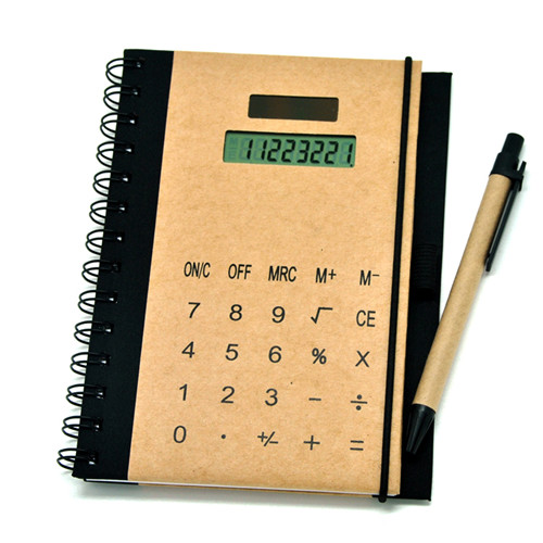 Brown Paper Calculator with Notebook Pen