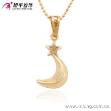 Xuping Fashion Charm 18k chapado en oro Moon-Shaped joyería de imitación collar colgante-32517
