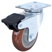 Roulette pivotante pivotante Indurial à double frein (rouge)