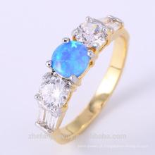 Simples anel de opala de fogo azul projeta jóias broca de diamante designer de anel de noivado