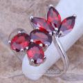 Coréia moda de plástico rubi flor anéis jóias das mulheres