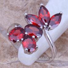 Korea plastic fashion ruby flower rings women's jewelry
