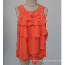 Hot Sale New Arrvial O-Neck Orange Color Fashion Sleeveless Ladies Blouse