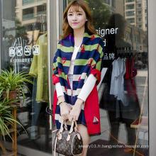 2015 mode d'hiver de haute qualité écharpe de femme écharpe modèle de rayure écharpe femme en gros