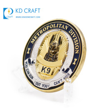 Golden supplier china custom metal copper stamping 3d gold plated k9 dog officer special forces security challenge coin