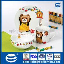 cute decoration children porcelain children breakfast set with bear decoration