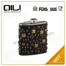 Newfangled luxury stainless steel hip flask with leather