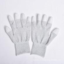 Revêtement PU sur Palm et Fingers Gants Nylon / Polyester