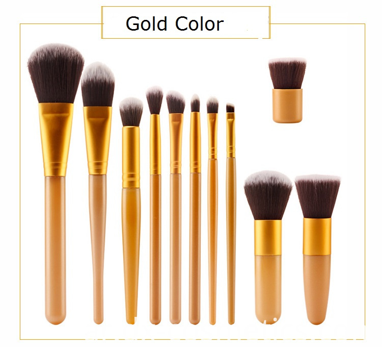 Gold Makeup Brush Set Color