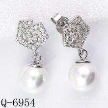 Derniers styles Boucles d'oreilles perles cultivées en argent 925 (Q-6954)