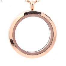 Latest 30mm design rose gold plain pendant, locket manufacturers, jewelry glass lockets