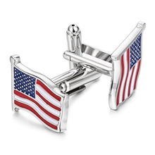 Fashion USA Flag Amerika Silver Cuff Links