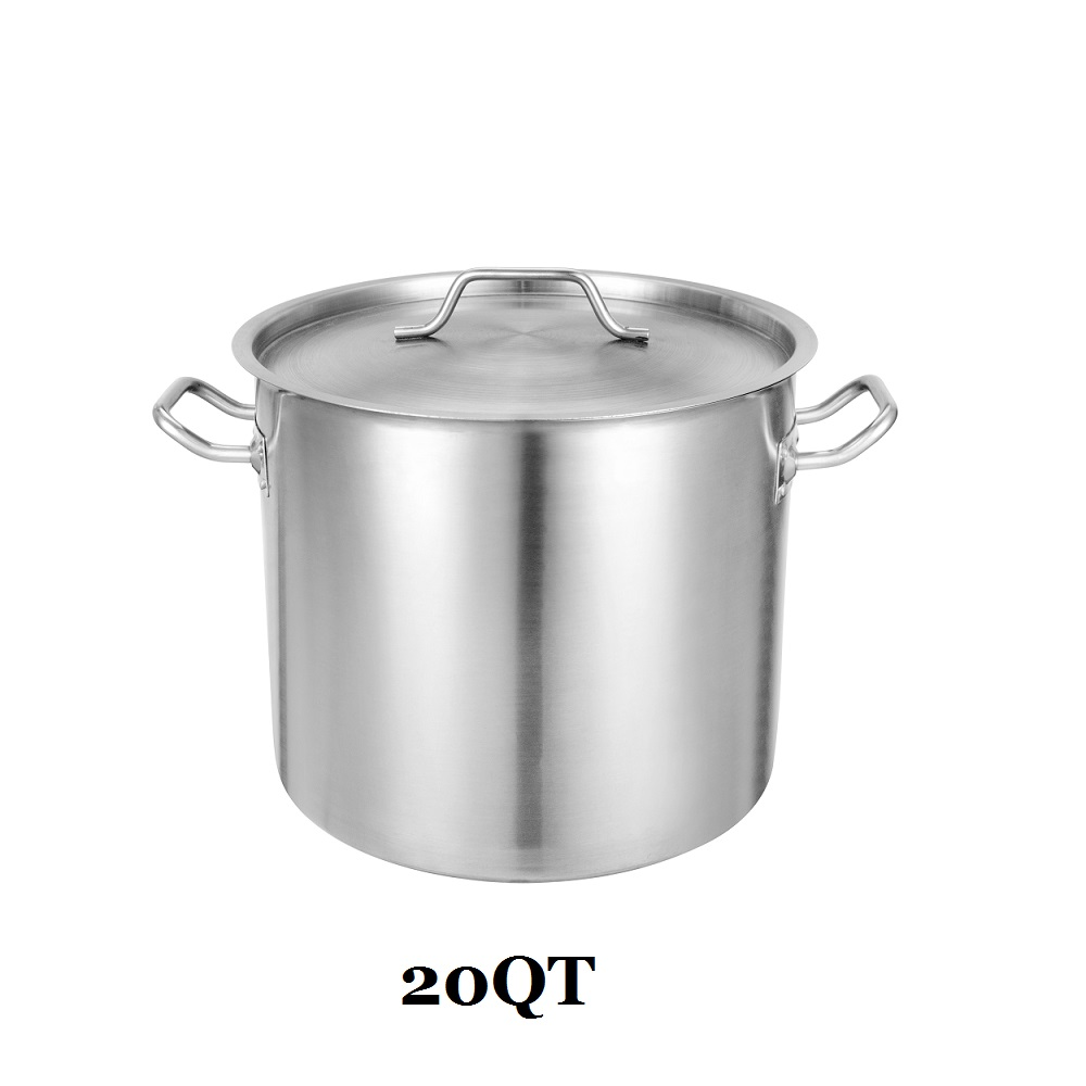 20qt Commercial Grade Large Stock Pot With Lid