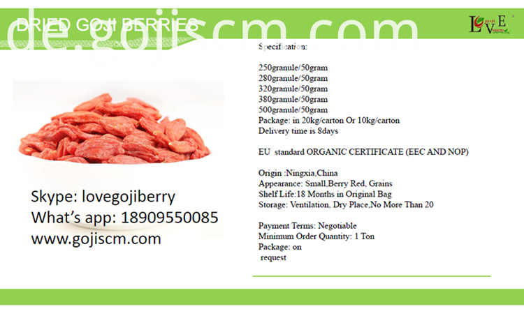 Dried Goji Berry specification
