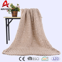 New product knitted blanket cheap chunky knit blanket