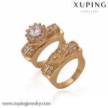 13343-Xuping Old Fashion Style Set Gold Ring para pareja