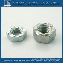 Galvanized Mild Steel Hex Nut Slotted