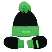 Infant Roll up Acrylic Knitted Glove and Beanie Set (TRK043)