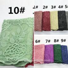 2017 New Fashion top seller printed womens long lace trim scarf shawl brand muslim women cotton lace hijab scarf