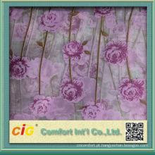 Tecido de cortina de organza de impressão de bordado