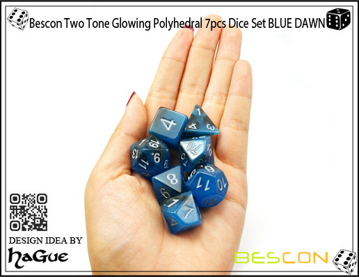 Bescon Two Tone Glowing Polyhedral 7pcs Dice Set BLUE DAWN-8