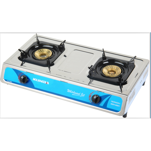 2 Burner Stainless Steel Blue Flame Gas Stove