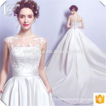 2017 Vestido de noiva com vestido de esfera branco puro com cetim Cestbella TS2097