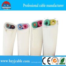 2 Cable Coresflat Cable plano de PVC y alambre 2 Núcleo con colores de alambre eléctrico