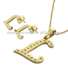 Sets jewelry 18K gold-plated stainless steel L letters suit include earing and necklace