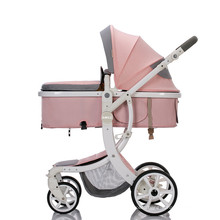 High Quality Easy Foldable Baby Parm 3 in 1  Luxury pink girl Baby Stroller Sets