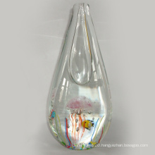 Art Glass Vase W/Jellyfish