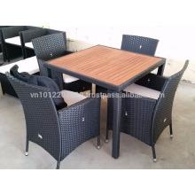 Muebles de jardín / al aire libre de mimbre - Juego de comedor 1 + 4