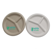 Compostable Bagasse Round Plates Disposable 3 Compartment Divided Plate For Dinner