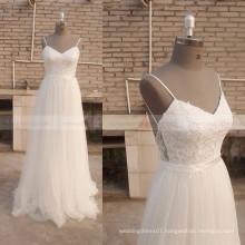 Spaghetti Strap Chiffon Beach Bohemian Lace Boho wedding Dress