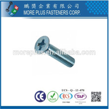 Hecho en Taiwán Acero inoxidable Phillips accionamiento avellanado cabeza máquina tornillos